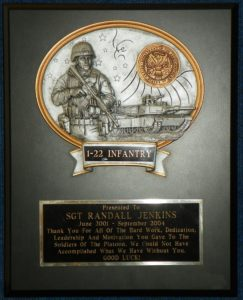 12 x 15 US Army Soldier Plaque $45.00 Eng. Included