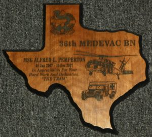 Small TX Plaque $40.00 Eng. Included